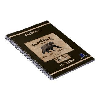 ヴィンテージのKodiakのサケのラベル(くま) ノートブック