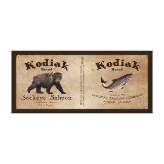 ヴィンテージのKodiakのサケのラベル キャンバスプリント