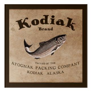 ヴィンテージのKodiakのサケのラベル(魚) アクリルウォールアート
