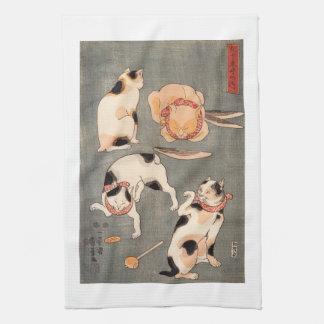 ヴィンテージのKuniyoshiの日本のな芸術猫の姿勢 キッチンタオル