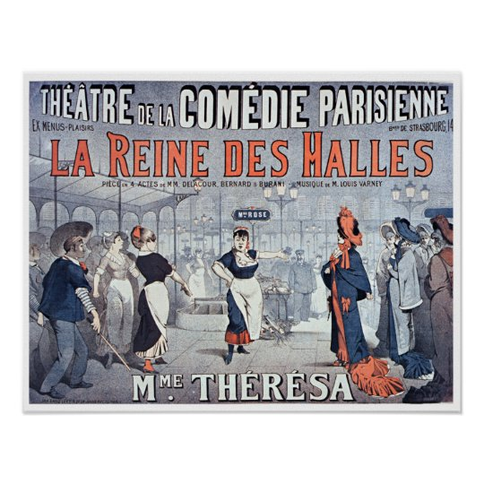 ヴィンテージのLaのReine des Hallesの喜劇の劇場 ポスター