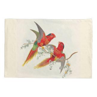 ヴィンテージのLorikeetのオウムの鳥の花柄の枕カバー 枕カバー