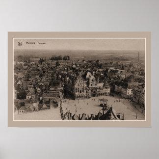 ヴィンテージのMechelen Malinesのパノラマ ポスター