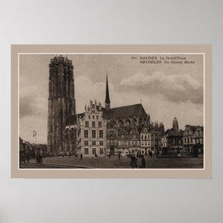 ヴィンテージのMechelen Malines Grote Marktの壮大な場所 ポスター