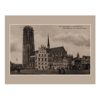ヴィンテージのMechelen Malines Grote Marktの壮大な場所 ポストカード