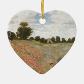 ヴィンテージのMonetのケシの花の春の花の芸術 陶器製ハート型オーナメント
