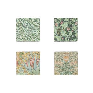 ヴィンテージのMorrisの花柄パターン石造りの磁石セット ストーンマグネット