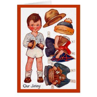 ヴィンテージのPaperdollの小さい男の子のジミーカード カード
