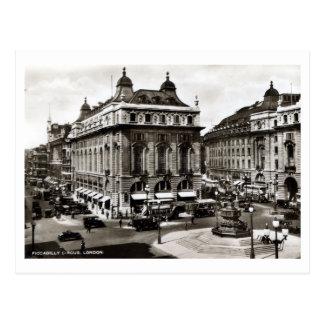 ヴィンテージのPiccadillyのサーカスの白黒写真 ポストカード
