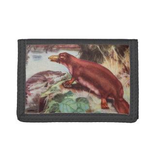 ヴィンテージのPlatypusのイラストレーション、動物のスケッチ ナイロン三つ折りウォレット