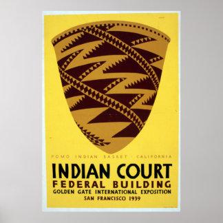 ヴィンテージのPomoのインドのバスケットサンフランシスコWPA ポスター