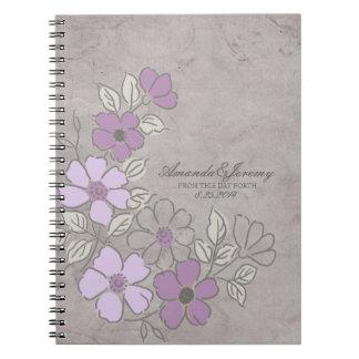 ヴィンテージのPurpleandの灰色の花の結婚式 ノートブック