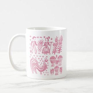 ヴィンテージのPyrexパターン- Butterprintのピンク コーヒーマグカップ