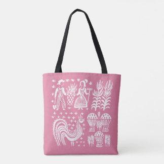 ヴィンテージのPyrexパターン- Butterprintのピンク トートバッグ