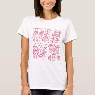 ヴィンテージのPyrexパターン- Butterprintのピンク Tシャツ