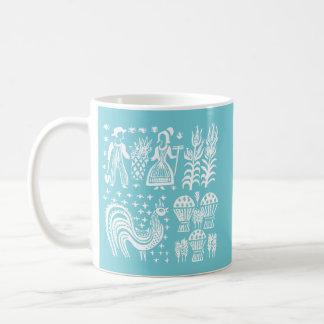ヴィンテージのPyrexパターン- Butterprintの白 コーヒーマグカップ