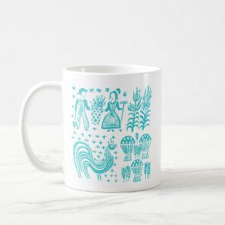 ヴィンテージのPyrexパターン- Butterprintの青緑 コーヒーマグカップ