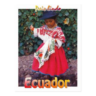 ヴィンテージのQuechuaエクアドルの郵便はがきの女の子 ポストカード