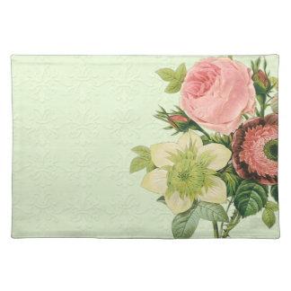 ヴィンテージのRedouteの花柄のばら色のアネモネのクレマチス ランチョンマット