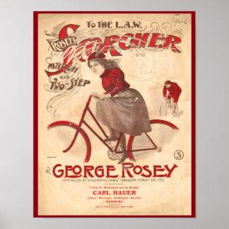 ヴィンテージのRoseyのScorcherの自転車の芸術ポスター ポスター