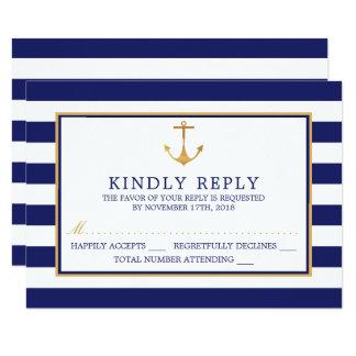 ヴィンテージのRSVPを結婚している航海のな金ゴールドのいかり カード