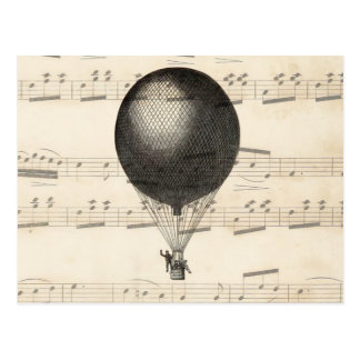 ヴィンテージのSteampunkの熱気の気球の飛行船 ポストカード