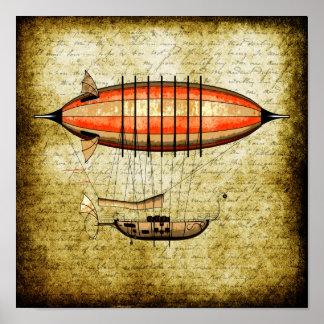 ヴィンテージのSteampunkの飛行船 ポスター