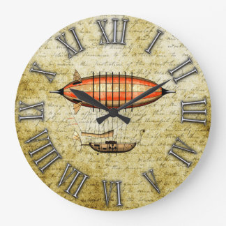 ヴィンテージのSteampunkの飛行船 ラージ壁時計