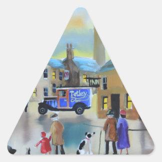 ヴィンテージのTetley tea van streetの背景画 三角形シール