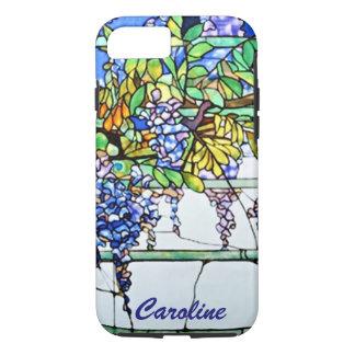 ヴィンテージのTiffanyのステンドグラスの藤の花柄の芸術 iPhone 8/7ケース