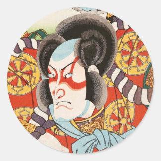 ヴィンテージのukiyo-eのkabukiの武士のUtagawaのクラシックな芸術 ラウンドシール