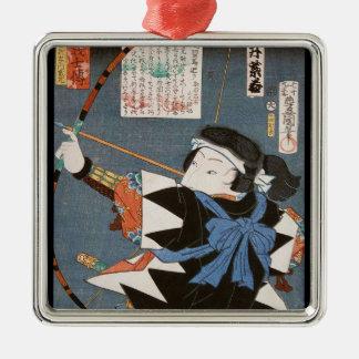 ヴィンテージのukiyo-eのkyudoの射手のUtagawaのクラシックな芸術 メタルオーナメント