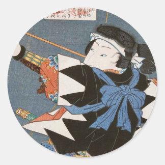 ヴィンテージのukiyo-eのkyudoの射手のUtagawaのクラシックな芸術 ラウンドシール