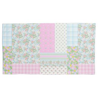 ヴィンテージのVibeのピンク犬バラののどのパッチワーク 枕カバー