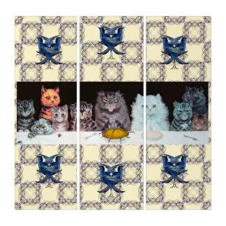 ヴィンテージのWain猫のマウスパイ芸術 トリプティカ