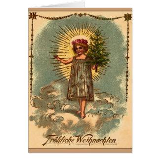 """ヴィンテージのWeihnachtskarte """"Engel mit Weihnachtsbaum """" カード"""