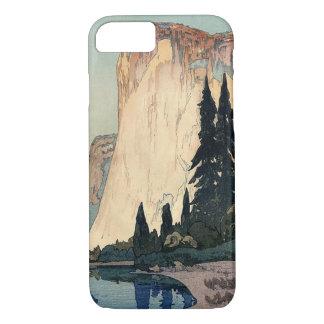 ヴィンテージのWoodblockの芸術El Capitanヨセミテ公園 iPhone 8/7ケース