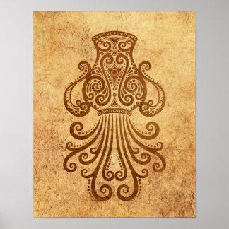 ヴィンテージはアクエリアスの(占星術の)十二宮図を老化させました ポスター