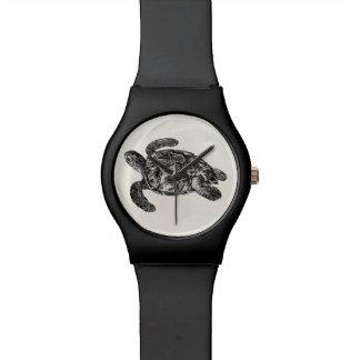 ヴィンテージはウミガメ-カメのテンプレート--をかわら状に重ねました 腕時計