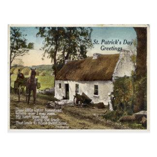 ヴィンテージはコテッジSt. Patricks日の郵便はがきをかやぶきにしました ポストカード
