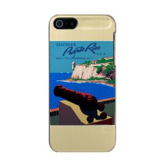 ヴィンテージはプエルトリコ米国WPAポスターを発見します メタリックiPhone SE/5/5sケース