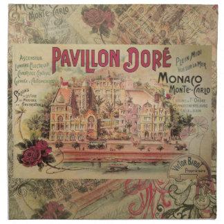 ヴィンテージはモナコのコラージュのモンテカルロ旅行を空想します ナプキンクロス