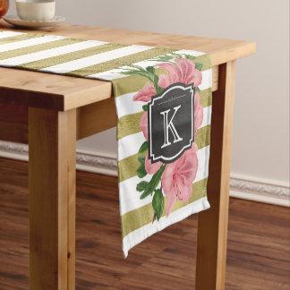 ヴィンテージはユリおよびストライプなモノグラムのイニシャルを飾ります ショートテーブルランナー