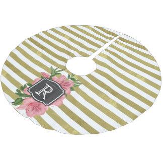 ヴィンテージはユリおよびストライプなモノグラムのイニシャルを飾ります ブラッシュドポリエステルツリースカート