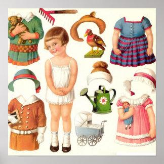 ヴィンテージは人形を壁紙を張ります ポスター