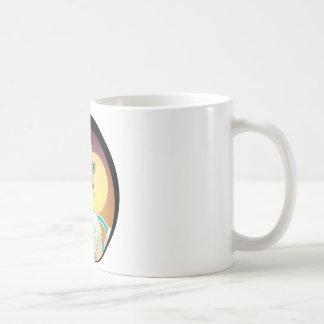 ヴィンテージは女性のイラストレーションのマグ60s 70sのスタイルを冷却します コーヒーマグカップ