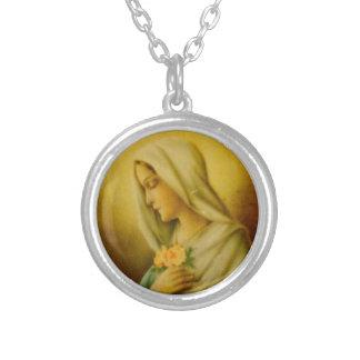 ヴィンテージは聖母マリアを賛美しました シルバープレートネックレス