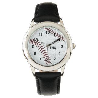 ヴィンテージは野球のステッチ球-赤いステッチの--のスタイルを作りました 腕時計