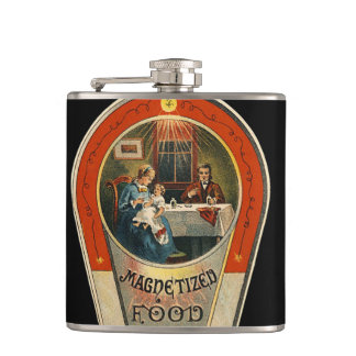 ヴィンテージは食糧にせ医者のラベルの異様なスキットルを磁化しました フラスク