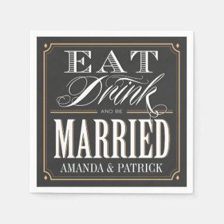 ヴィンテージは飲み物を食べ、結婚したな結婚式のナプキンです スタンダードカクテルナプキン